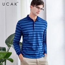 UCAK Brand T Shirt Men Clothes 2019 Autumn Business Casual T-Shirt Fashion Striped Long Sleeve Cotton Tee Homme U5001