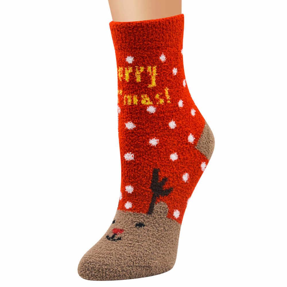 المرأة الجوارب عيد الميلاد الشتاء لطيف لينة تنفس الدافئة المرجانية المخملية الكرتون الأيائل سانتا كلوز ثلج القطن للجنسين جورب F814