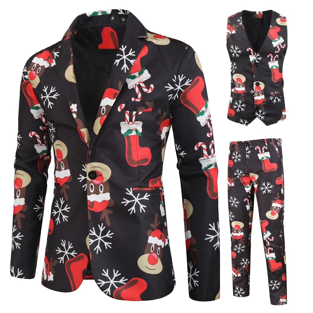 Men Suits For Wedding 2019 Charm Suit Christmas 3D Printing  Slim Fit Party Fashion Long Sleeve 3 Pieces Set Blazer Vest Pant