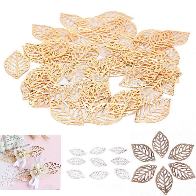 Hot 50pcs/Lot Craft Hollow Leaves Pendant Jewelry Accessories Gold Charm Filigree Jewelry Making Plated Vintage For Hair Comb