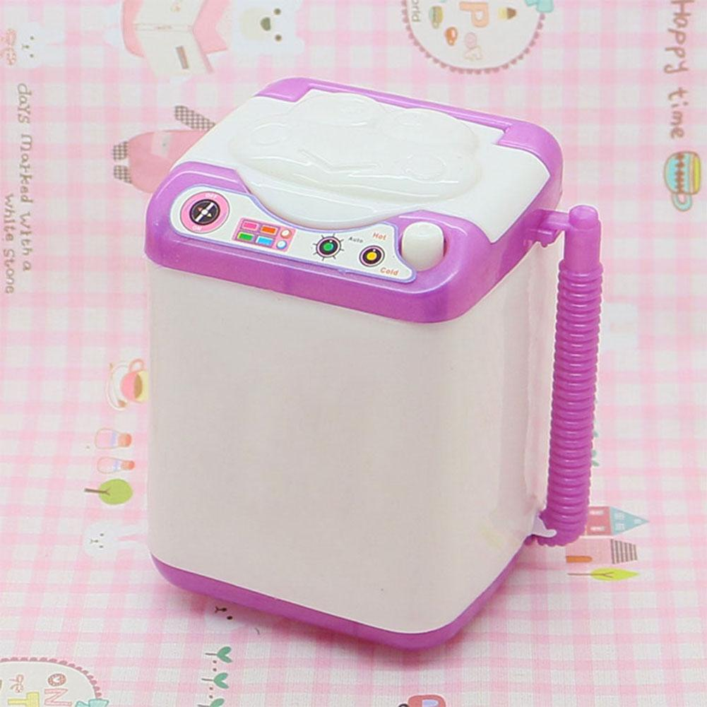 Cute Silicone Doll Washing Machine Mini Washer Doll House Furniture Accessory For High Dolls Baby Toys Gift