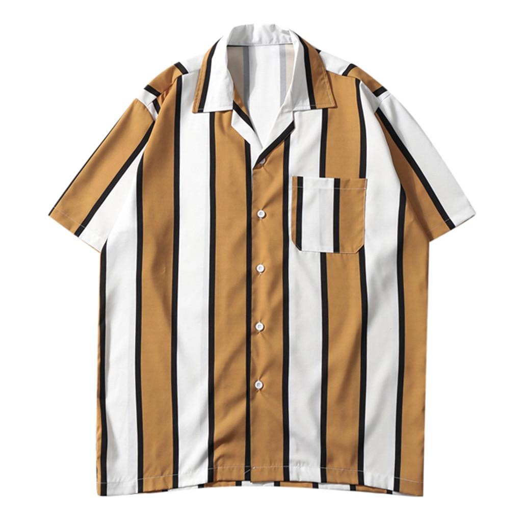 WOMAIL 2019 Fashion Casual Men's Shirt Splicing Pattern Beach Short Sleeve Linen Stripe Shirts Turn-down Collar Casual  Shirts