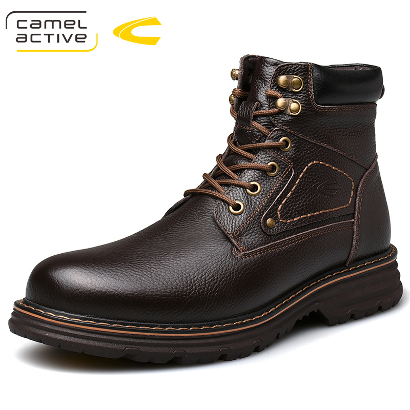 High Quality Men's Genuine Cow Leather Martins Boots Brown Platform Shoes Real Wool Warm Inner Lining Boots