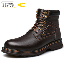 High quality Men's Genuine cow leather Martins Boots brown Platform Shoes Real w