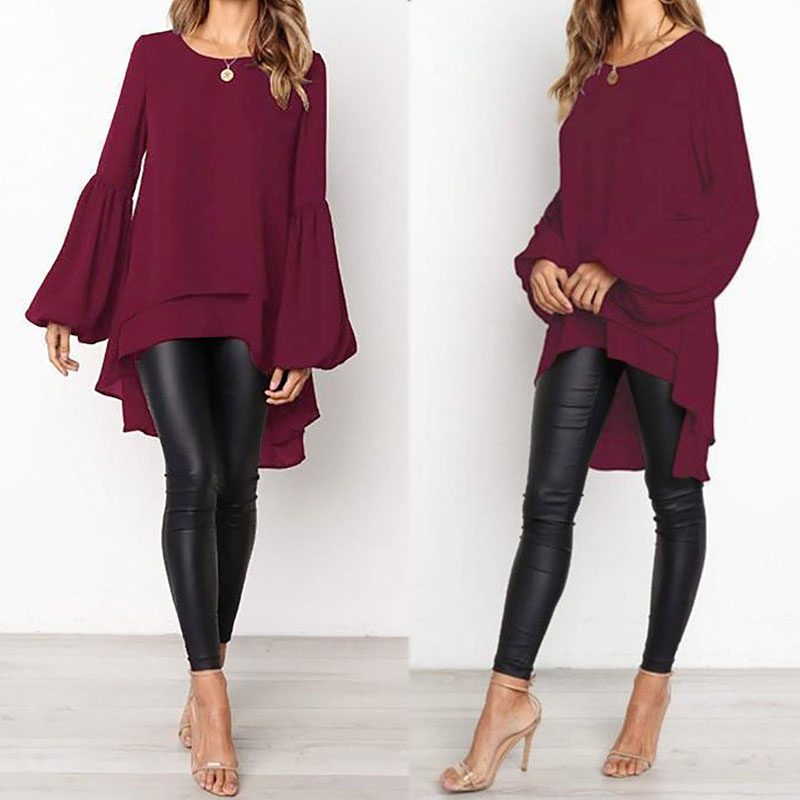 Lantern Sleeve Layered   Shirts   Women Asymmetrical   Blouse   2019 ZANZEA Fashion Tops Female Casual Blusas Femininas Plus Size   Shirts