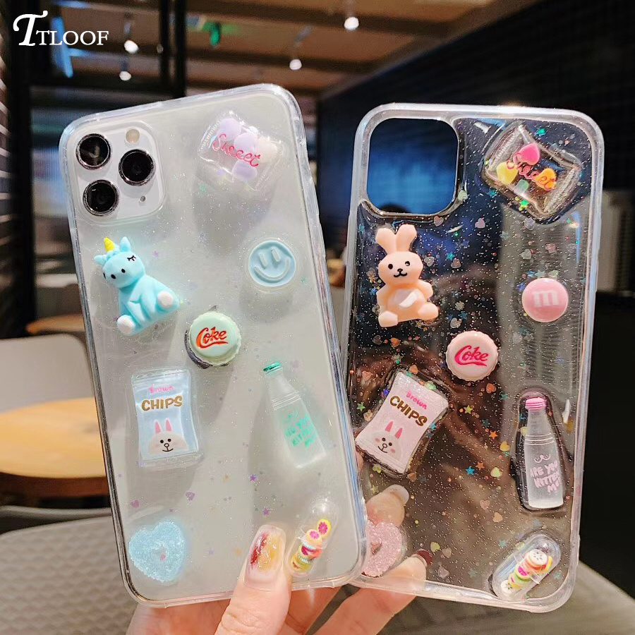 3D Cartoon Candy Glitter Phone Case On For Iphone 12 11 Pro Max XR X XS Max 6 6S 8 7 Plus SE 2020 12 Mini Case Clear Soft Cover
