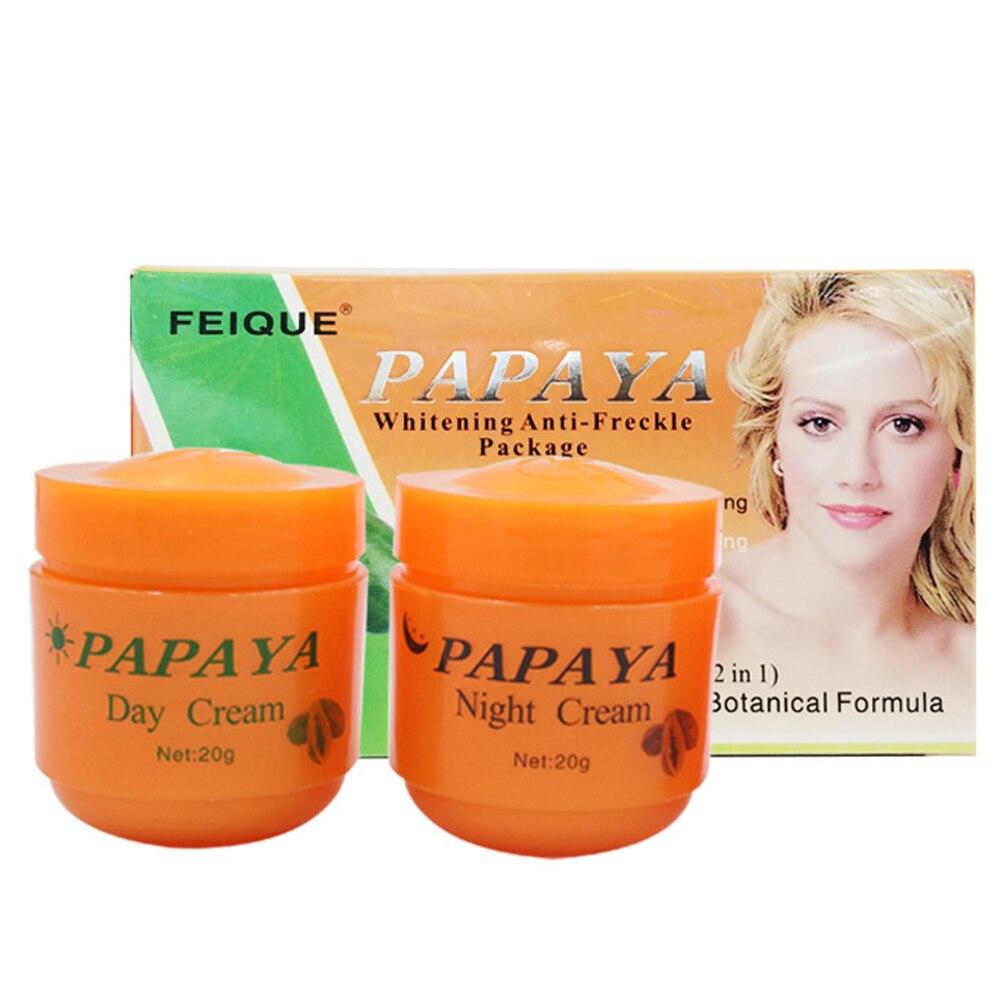 2pcs/set Dark Spots Practical Eliminating Moisturizing Papaya Cream Daily Use Brighten Skin Day And Night For Women Anti Freckle