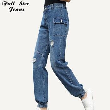 Ropa de calle de Primavera de la mujer de talla grande novio rasgado Denim Pantalones Casual de carga 4Xl 7Xl alta cintura elástica larga Bolsillo grande Jean