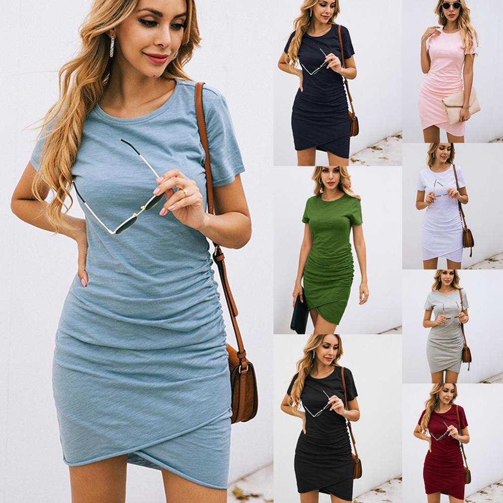 Summer Dress Women Sexy Mini Dress Fashion Solid Bodycon Slim Beach Dresses Female Short Sleeve Party Vestidos Verano Mujer 2020