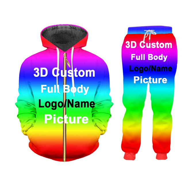 UJWI 3D Custom Print Men/Woman two piece set Party Graduation Memorial Couple Tracksuit Sweatsuit Sweatshirt Hoodies sports 2
