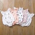 Новое платье для маленьких девочек; Детский летний комбинезон в стиле унисекс для новорожденных без рукавов с красивыми принтами для девоч...