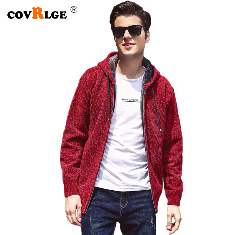 New Mens Fleece Sweater Autumn Winter Warm Cashmere Dress Slim Fat Wool Zipper Casual Sweater Men Knitted Coat MWK006