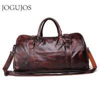 JOGUJOS Men's Handbag Travel Bag Genuine Leather Men Duffel Bag Luggage Shoulder Bag Large Capacity Duffle Bag Weekend Tote Men