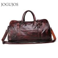 JOGUJOS Men's Handbag Travel Bag Genuine Leather Men Duffel Bag Luggage Shoulder Bag Large Capacity Duffle Bag Weekend Tote Men