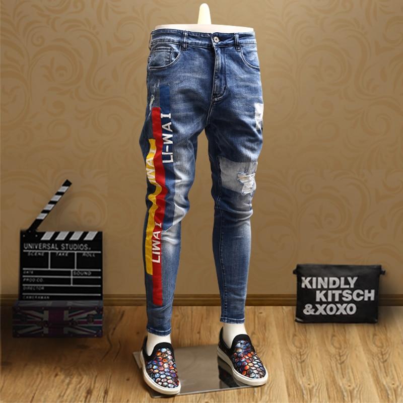 Fashion Mens Skinny Ripped Jeans Streetwear Blue Jean Stripe Pants For Cowboys Men
