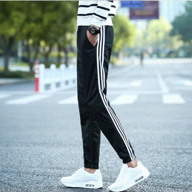 Winter Men Three Bars Athletic Pants Men's Loose-Fit Trousers Straight-Cut Autumn Plus-sized Large Size Casual Sweatpants Fat