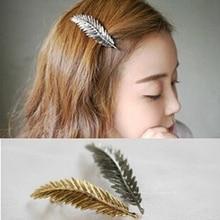 1pc Hairpins Vintage Metal Leaf Hair Clip For Women Girls Hair Accessories Hairgrip Delicate Barrettes Retro Feather Ornament faddish matal leaf shape hairgrip for women