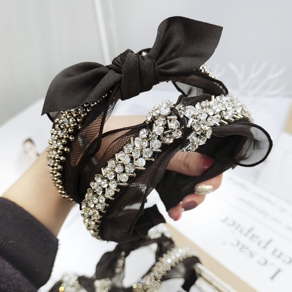 Cabeça de Cristal Estilo do Cabelo Lote Faça Você Mesmo Simples Multi Tecidos Mão Tricô Flores Bandas Contas Hairbands Ferramentas Acessório Ha1371 20 Pçs –