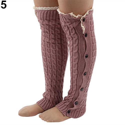 여자의 크로 셰 뜨개질 니트 레이스 트림 버튼 스타킹 다리 따뜻하게 부팅 무릎 높은 양말