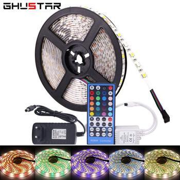 цена на SMD 5050 RGBWW RGBW LED Strip Lights 5M 300Leds Waterproof Ribbon LED Lamp Diode Tape+40 keys Remote Controller +DC 12V Adapter