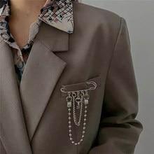 Kore tarzı Metal anahtar broş kadınlar için erkek takım elbise dekorasyon püskül 2 katmanlar zincir Metal boncuk Pin kumaş takı aksesuarları 2020