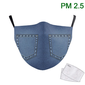 Mouth Face Mask Solid Color Jeans Mask PM 2.5 Protective Dust Reusable Mouth Mask Print Washable Fabric Filter for Adult