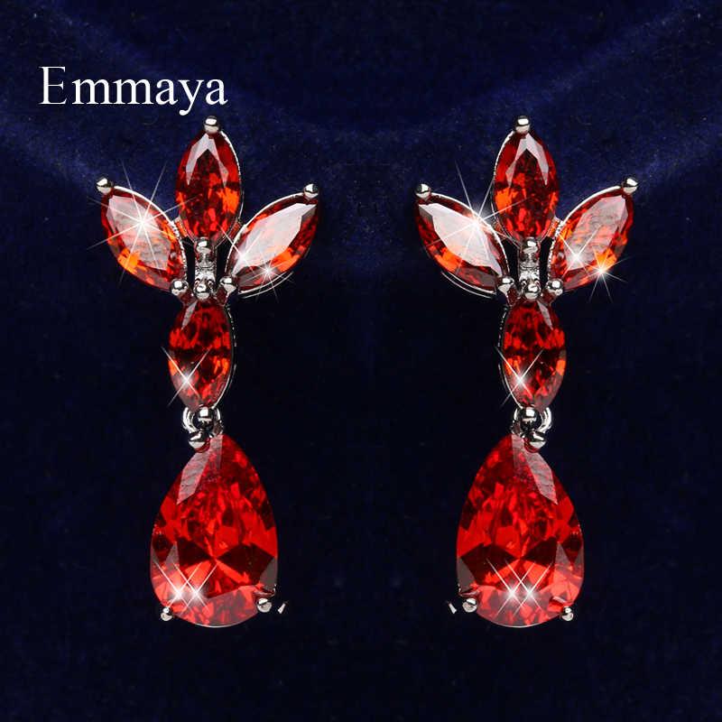 Серьги Emmaya с изящными цветами женские, дизайнерские легкие Роскошные ювелирные украшения вечерние в форме капли воды с цирконием, четыре цвета