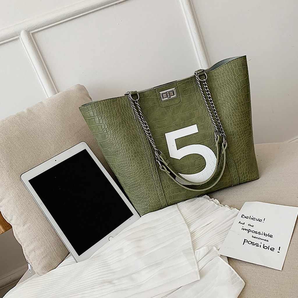 2Pcs Wanita Kulit Tas Tangan Serpentine Vintage Kulit Tas Bahu Tas dengan Rantai Messenger Tas Besar Tote Sac Bolso 30