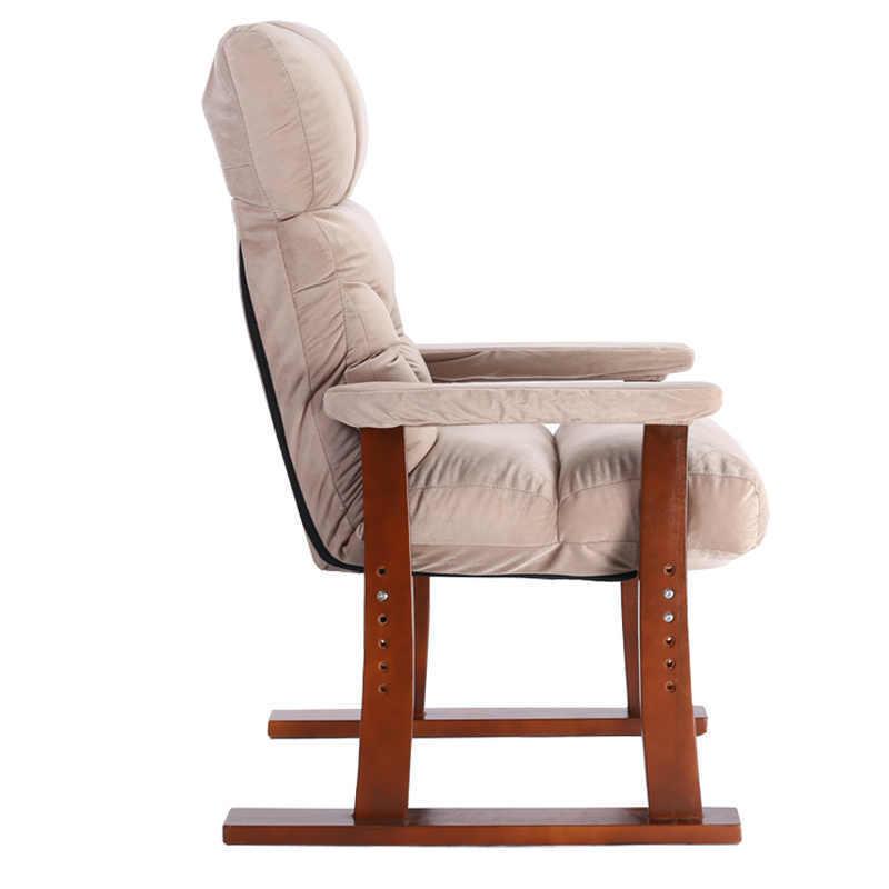 Fashion home leisure chair solid wood recliner reclining nap chair garden old man chair lunch break chair