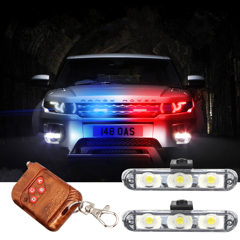 Best Waterproof DC 12V Wireless Remote <font><b>3</b></font> LED Ambulance Police light controll flasher Car Strobe Warning Emergency External light image