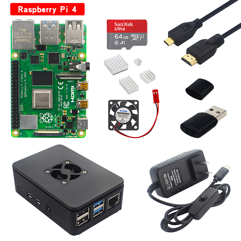 <font><b>Raspberry</b></font> <font><b>Pi</b></font> <font><b>4</b></font> <font><b>Modell</b></font> <font><b>B</b></font> Kit 2G/4G RAM Bord + ABS Fall + Kühlkörper + 32/64 SD Karte + Micro HDMI Kabel + Power Adapter für <font><b>Pi</b></font> <font><b>4</b></font> 4B image
