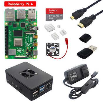 Raspberry Pi Modelo B, Kit de 2G/4G RAM placa + ABS + disipador de calor + 32/64 tarjeta SD + Cable HDMI + fuente de alimentación para Pi 4 B