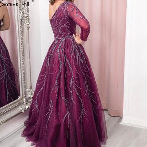 Image 2 - Serene Hill Dubai Design Wine Red A Line Evening Dress One Shoulder Sexy Luxury Formal Party Gown 2020 CLA60988