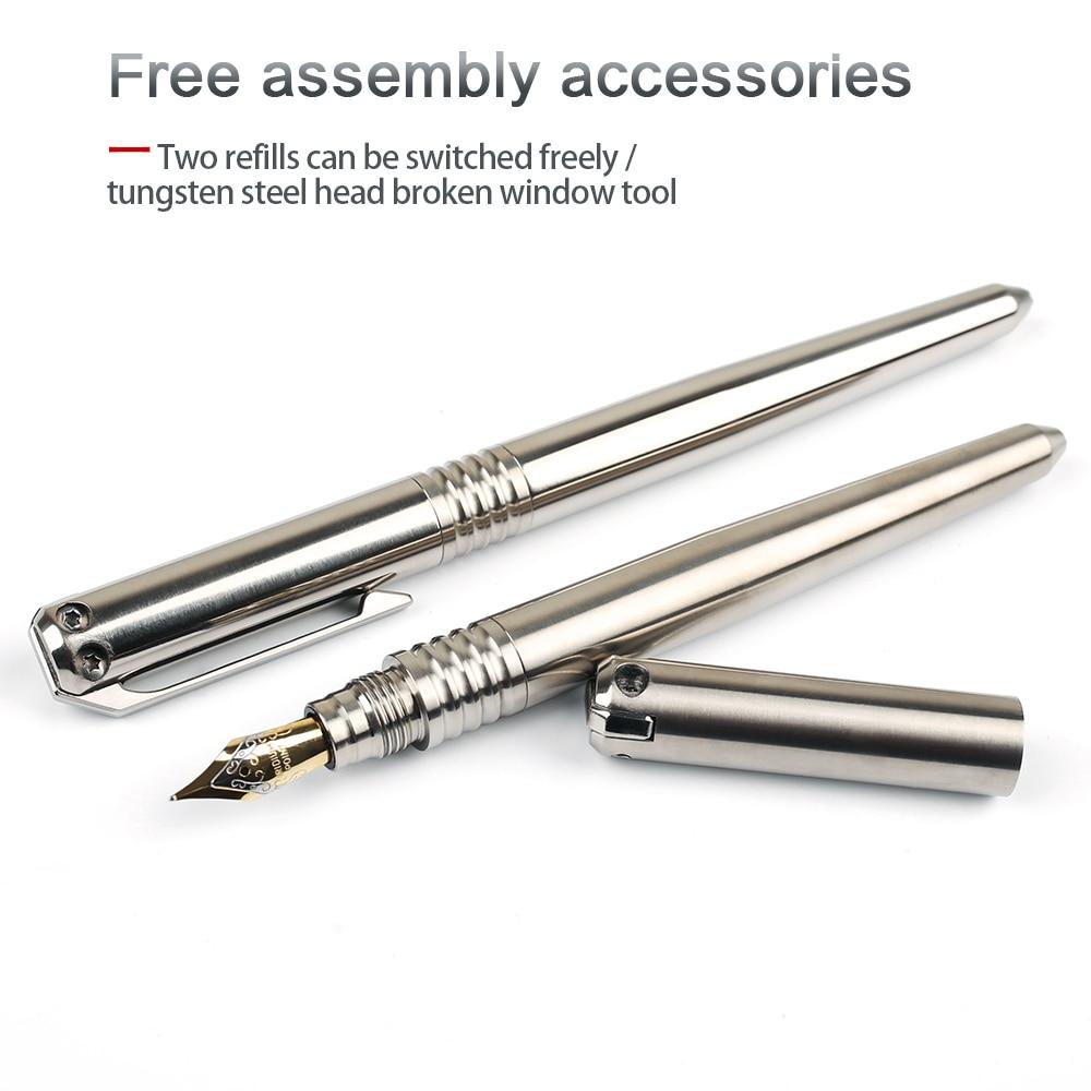 Tools : Titanium tactical pen multi-function broken window high hardness outdoor safety defense tool pen