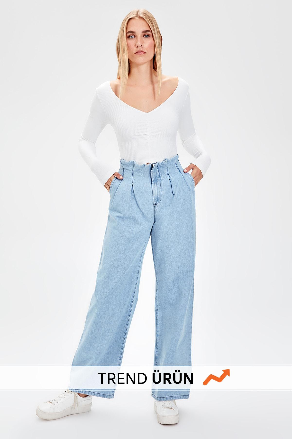 Trendyol Blue Pleated Super High Waist Wide Leg Jeans TWOAW20JE0105