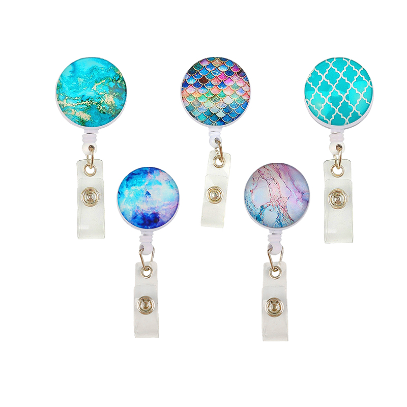 5pcs/lot Creative Marble/Scale/Landscape Painting Retractable Reel ID Badge Name Holder For Nurse Gift Accessories