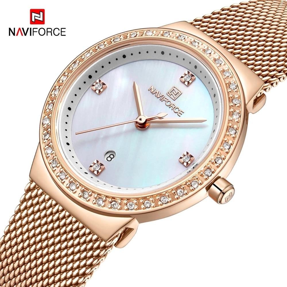 NAVIFORCE новые роскошные женские часы, модные стальные сетчатые часы с ремешком из розового золота, кварцевые женские часы, повседневные водон...