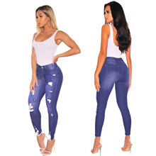 2019 Sexy Ripped Distressed Jeans for Women Skinny Denim Low Waist Pencil Pants Hole Button Zipper Wash Slim Femme Sale Items low rise bleach wash skinny jeans