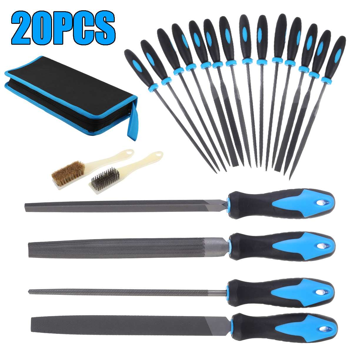 20 Pcs Set Hand File Needle File Tool T12 High Carbon Steel 200mm Metal Needle Set Wood Carving Craft Sewing Hand Files Tool