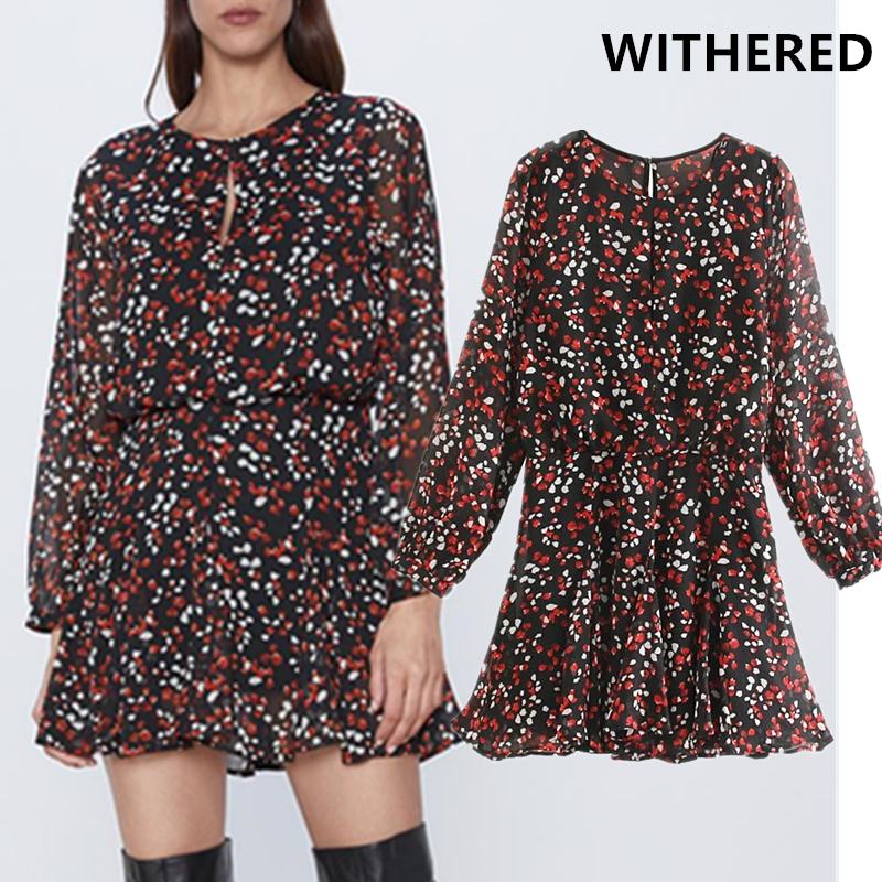 Withered Autumn England Vintage Elegant Floral Printing Party Dress Women Vestidos Vestidos De Fiesta De Noche Mini Dress Blazer
