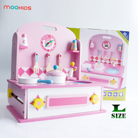 Mookids Princess Educational Toys Girl Dressing Table Set Play House Wood Simulation Dressing Table Kitchen Interaction