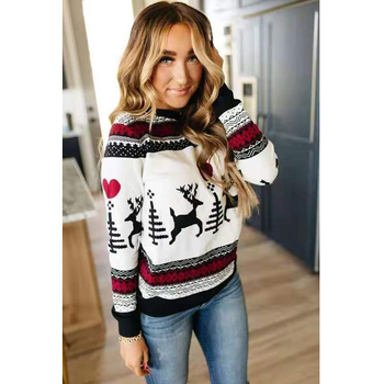 Christmas Sweater 2020 Winter Classic Deer Printed Knitted Pullovers Plus Size Streetwear Long Sleeve Jumpers clothes for women women oversized sweater and pullovers oneck sweet heart letters printed pull jumpers long sleeve pink streetwear knit tops