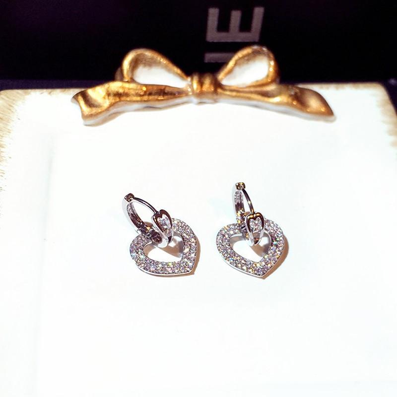 Ins Offre Spéciale brillant creux amour boucle boucles d'oreilles pour dame coeur forme à la mode Bling zircone goutte boucle d'oreille bijoux de mariage pendentif 4