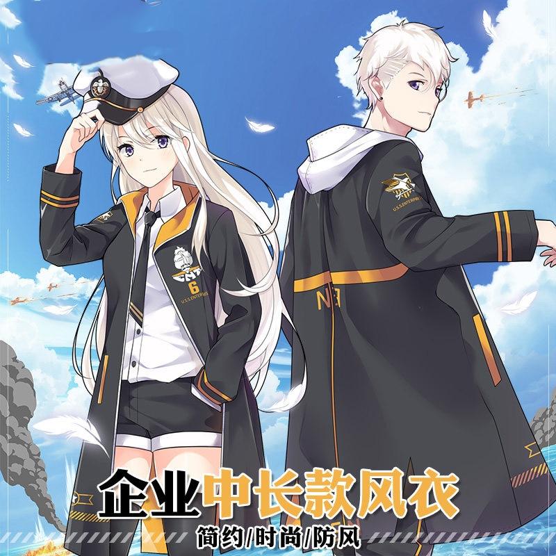 Game Azur Lane USS Enterprise Cosplay Men Women Hooded Wind Coat Casual Fashion Outwear Long Jacket Tops Dust Coat