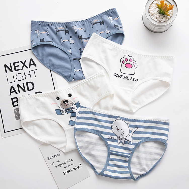 Women's Panties Cat Pattern Cotton Underwear Gril Briefs Lingerie Ladies Underpants Cartoon Woman Casual Female Panty Wholesale