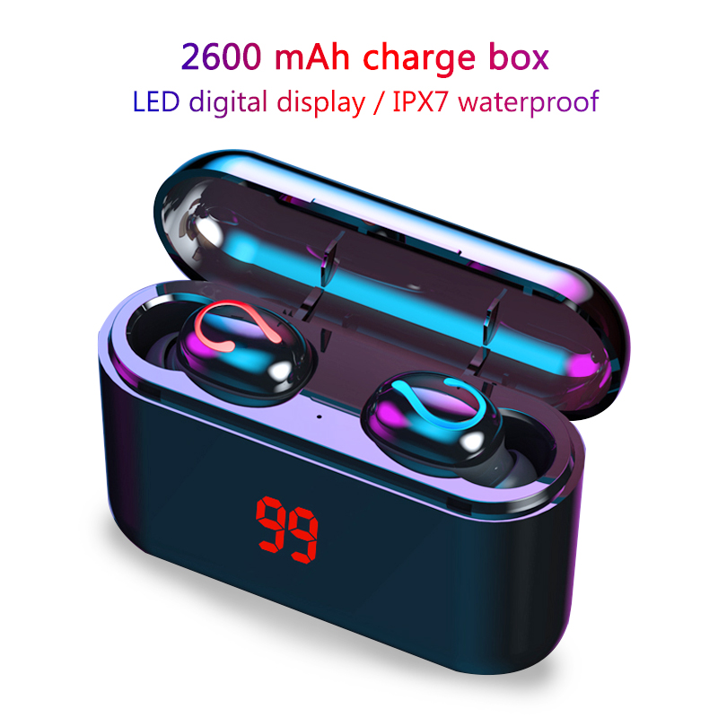 8D Stereo Earphone Wireless Bluetooth 5.0 Earphones IPX7 Waterproof Earphones Sport Headphones With 2600mAh Portable Power Bank