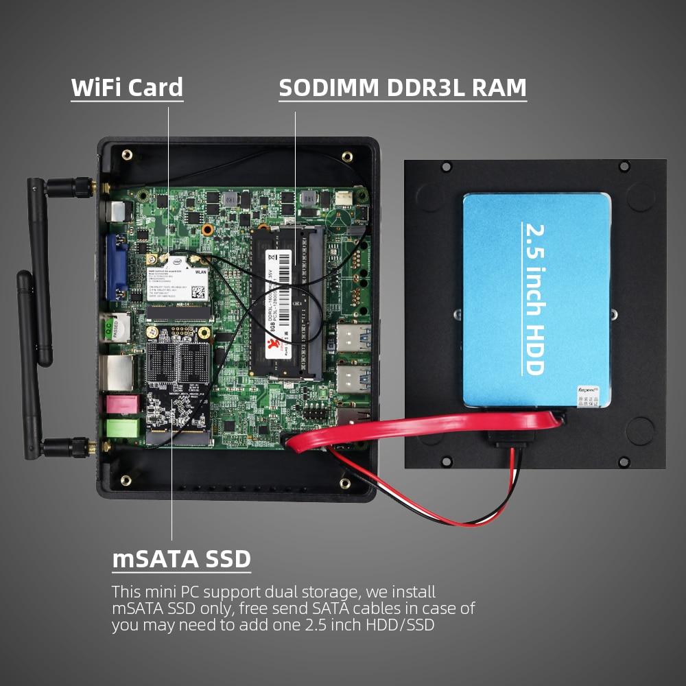 Clearance SaleXCY HTPC Desktop Computer Mini Pc Thin Client Wifi I5 7200u Intel-Core Fanless HDMI I7 4500u