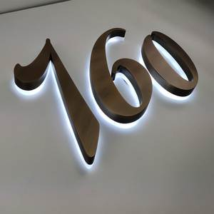 Halo-Lit-Signs Stainless-Steel Acrylic Shop with Backside Led-Letters for Vintage Personalized