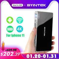 Byintek ufo p10 inteligente portátil android 7.1.2 os wifi mini hd led dlp projetor para completo 1080 p max 4 k para iphone 11