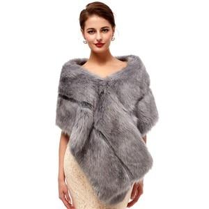 Image 1 - Gray Wedding Fur Shawl Wedding Dress Wrap Adults Formal Jackets Luxury Bridal Cape Accesories Bride Women Fur Bolero 2020